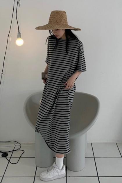 輕鬆條紋加長洋裝*2色