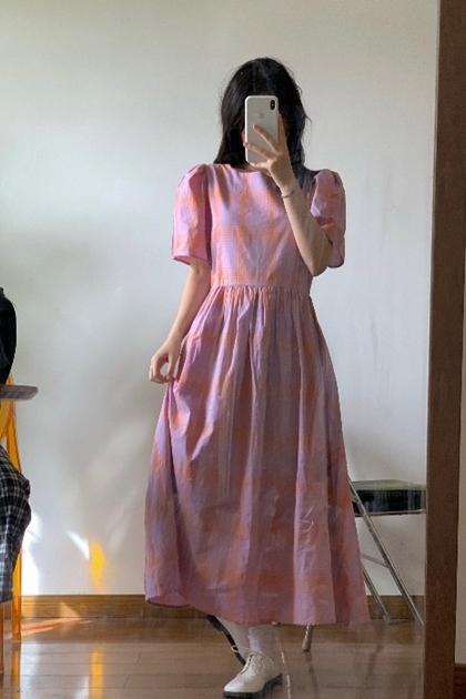 復古粉彩格紋抓摺洋裝