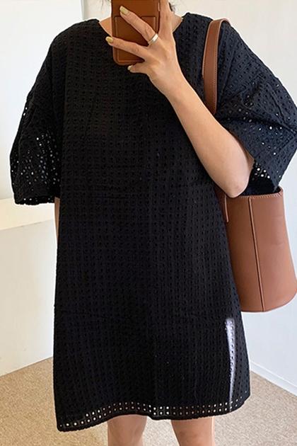 優雅鏤空設計感寬泡泡袖洋裝*2色