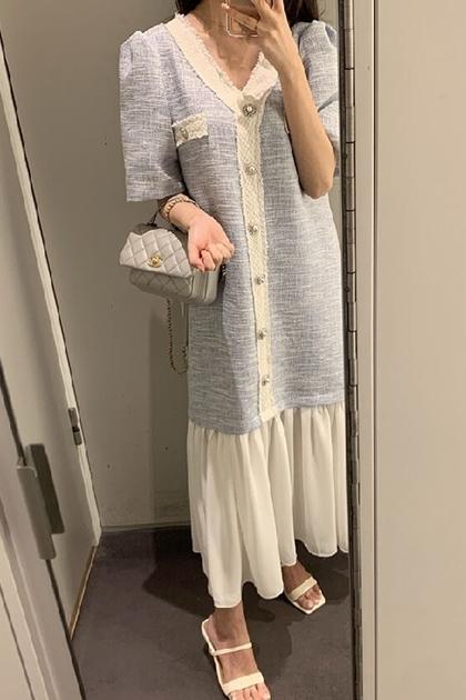 小香風氣質優雅拼接襯裙洋裝*3色