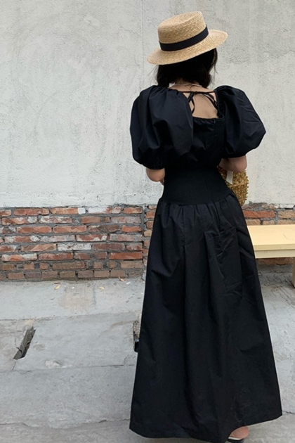 法式復古澎澎袖收腰洋裝*2色