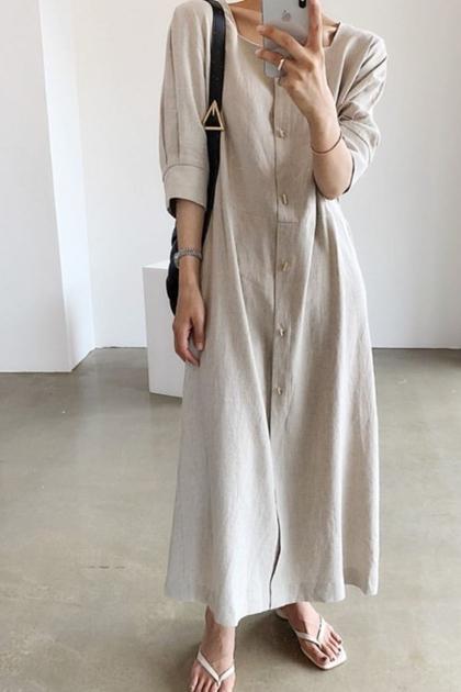 復古純色方領開釦腰綁帶洋裝*3色