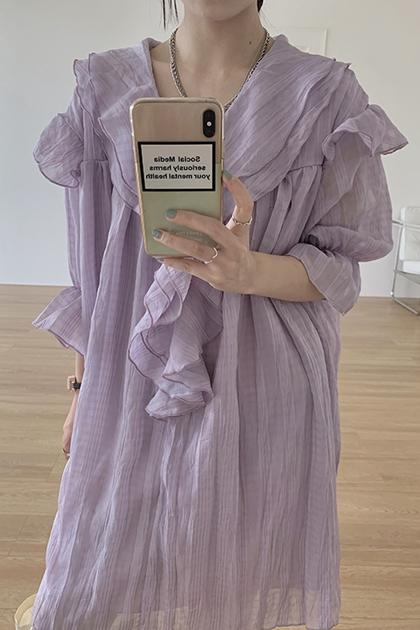 法式溫柔荷葉泡泡袖洋裝*2色