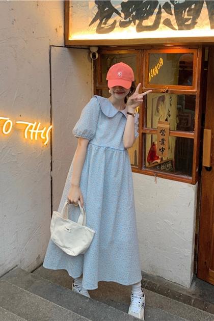 溫柔小碎花圓衣領洋裝*2色
