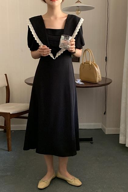 赫本風翻領蕾絲花邊背鏤空洋裝*黑