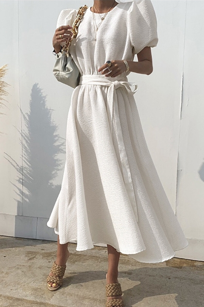 皺褶感泡泡袖收腰綁帶洋裝*2色