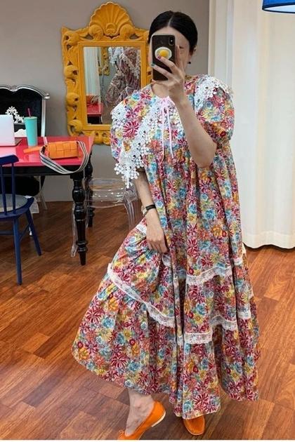 洋氣繽紛花朵蕾絲花邊點綴翻領洋裝*2色