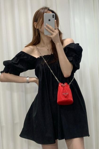 法式方領一字領變化洋裝*2色