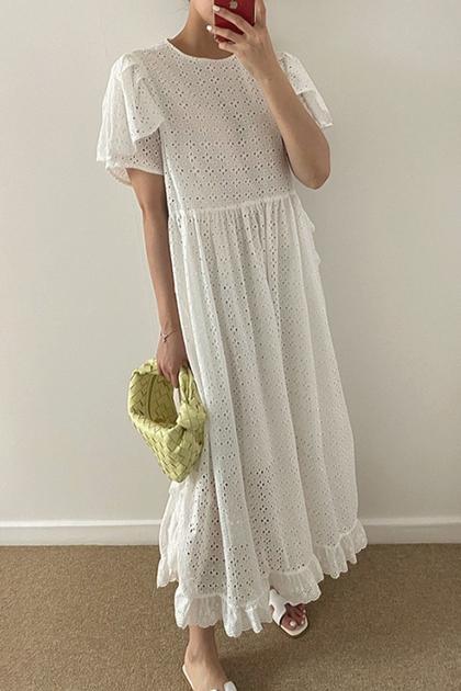 重工鏤空蕾絲鉤花荷葉邊飛飛袖洋裝*2色