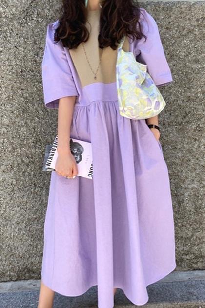 撞色紫拼接高腰寬鬆短袖洋裝