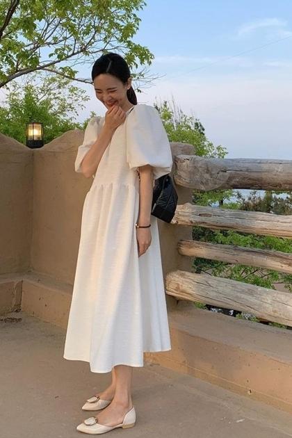 燈籠袖寬鬆高腰洋裝*2色
