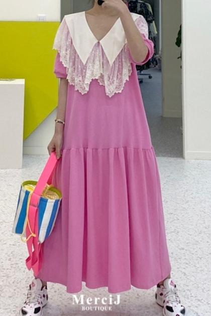 蕾絲花邊拼接寬鬆洋裝*粉