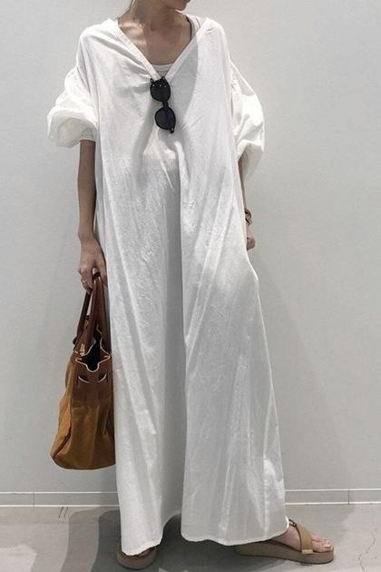 超長寬鬆V領泡泡袖洋裝*白