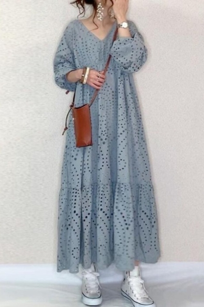 鉤花蕾絲泡泡袖洋裝*藍