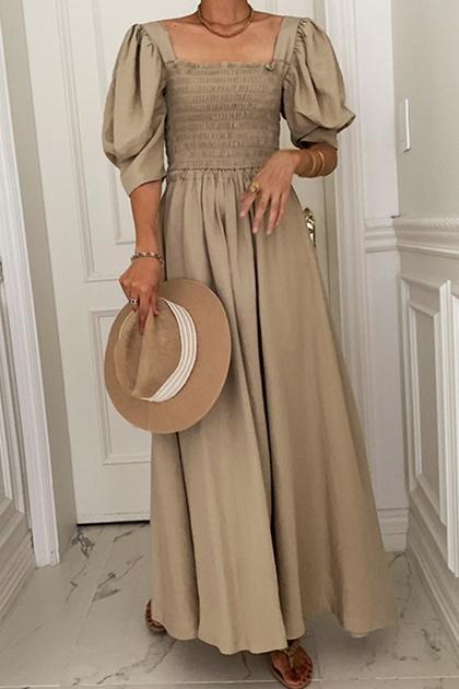 法式方領皺皺彈性泡泡袖洋裝*2色