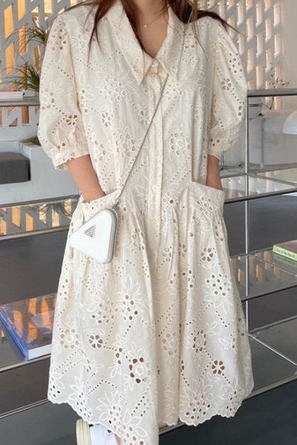 法式縷空蕾絲泡泡袖洋裝*2色