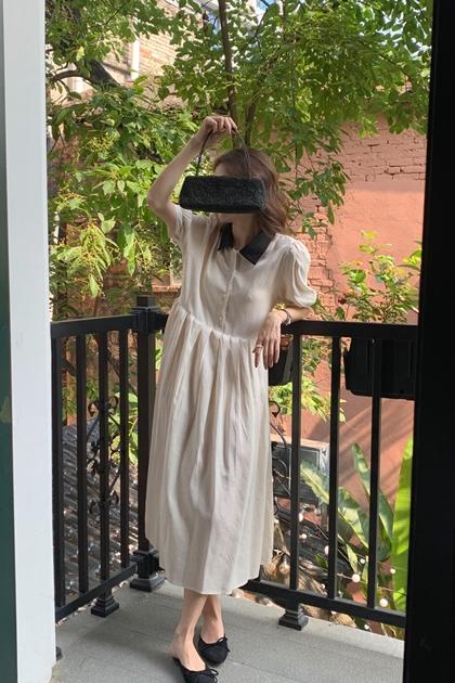 法式配色領開釦百摺洋裝*2色