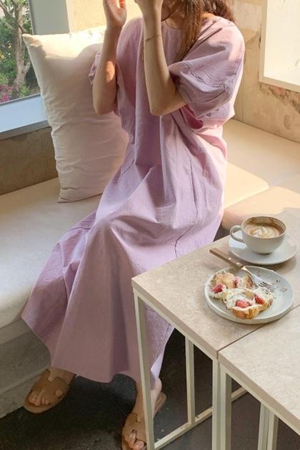 立體剪裁澎澎袖洋裝*4色