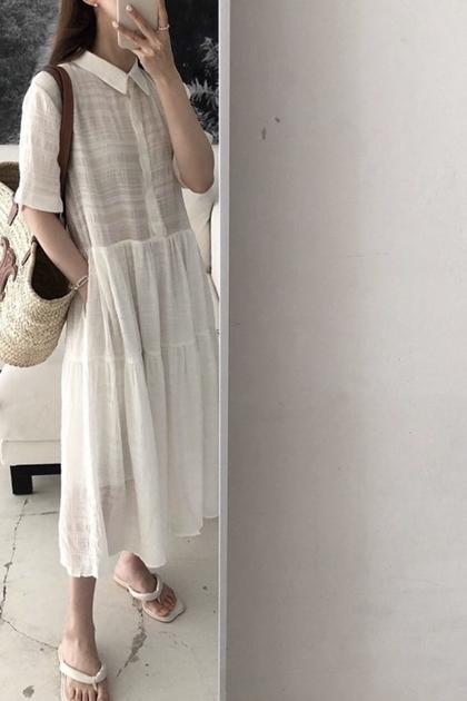 法式透膚紋理洋裝*2色