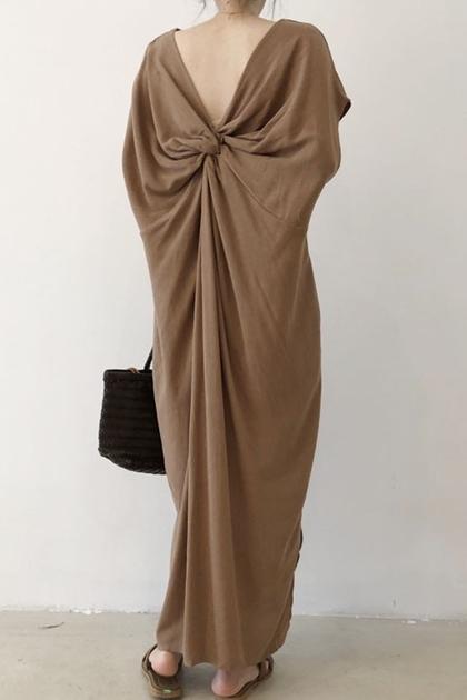 雙面穿扭結造型加長洋裝*2色