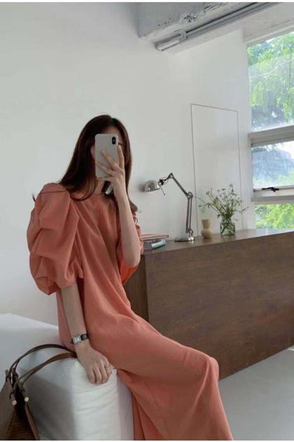 輕熟造型堆堆袖洋裝*3色