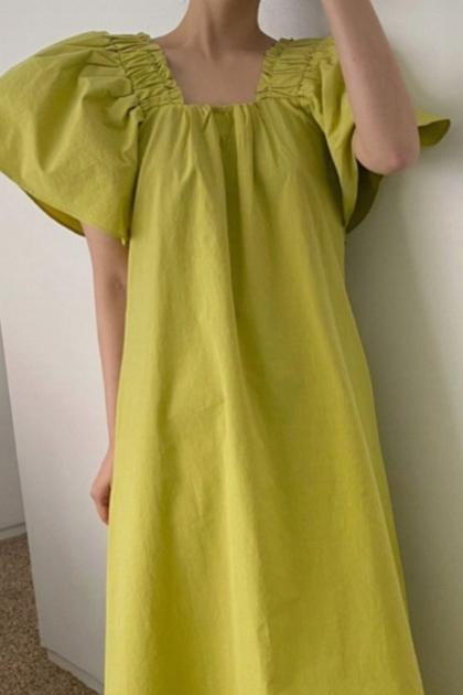 法式V領飛飛袖洋裝*2色