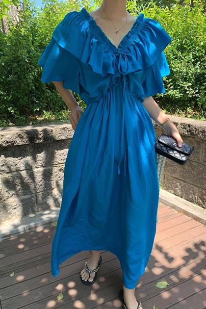 荷葉V領高腰綁帶連身洋裝*2色