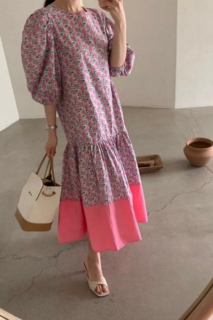復古花朵拼接撞色裙襬洋裝*3色