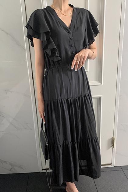 荷葉飛飛袖包釦V領洋裝*2色
