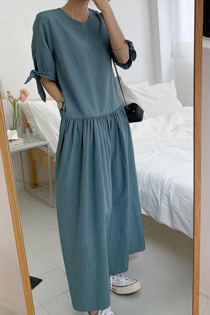 袖綁結設計抓摺洋裝*3色