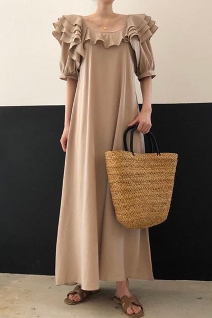 層疊荷葉滾邊洋裝*3色
