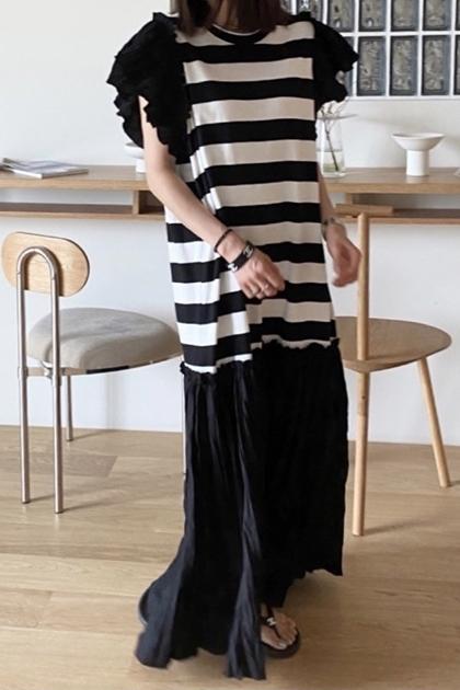 荷葉袖條紋撞色拼接襯裙洋裝*2色
