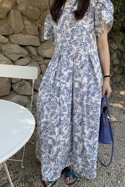 復古抓摺剪裁花卉洋裝*2色