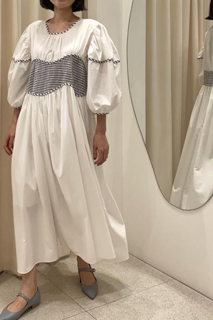 淡雅撞色時髦剪裁洋裝*2色
