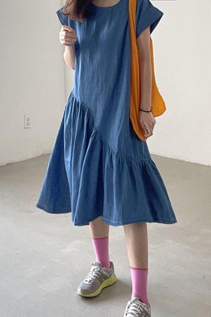 不規則荷葉拼接設計洋裝*藍