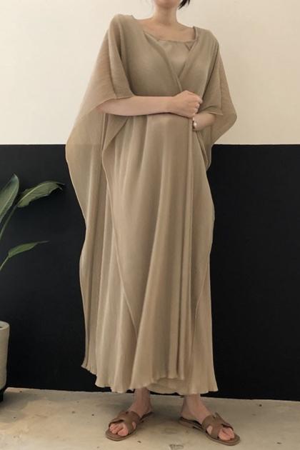 優雅網紗'披肩拼接假2件式洋裝*3色