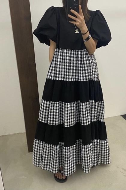 造型拼接格紋抓摺裙襬洋裝*2色