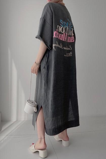 雙面斑駁字母印圖洋裝*3色