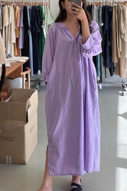 慵懶寬鬆開釦燈籠袖洋裝*3色