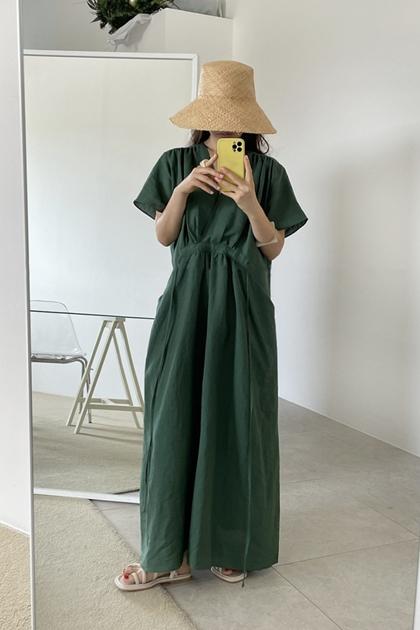 法式V領口袋設計收腰綁帶洋裝*2色