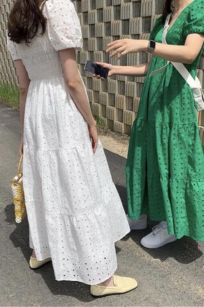 深V設計鏤空皺褶感顯瘦高腰洋裝*4色