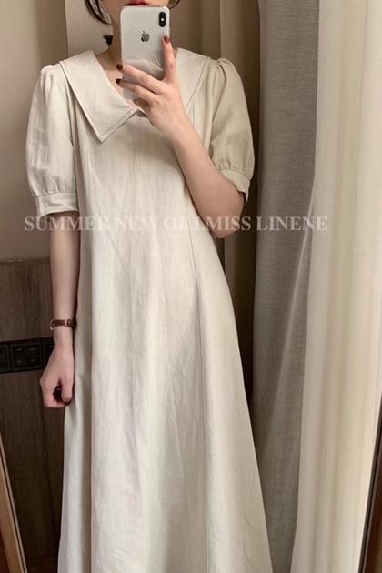 溫柔法式水洗苧麻娃娃領洋裝*S-XL