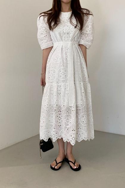 法式宮廷風重工鏤空蕾絲鉤花收腰綁帶洋裝