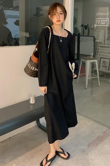 W氣質方領顯瘦黑洋裝