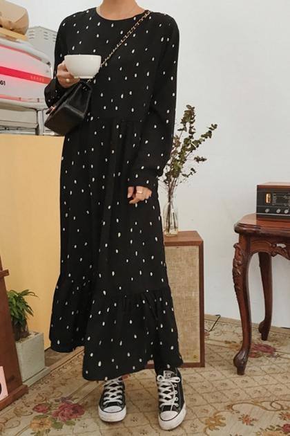 Chic復古圓點波浪裙襬連身洋*黑