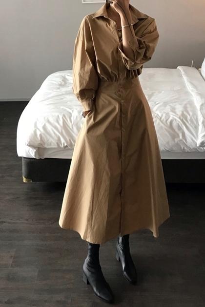 時髦V領開扣收腰連身洋裝*2色SM