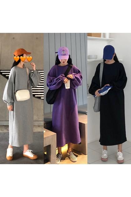 澎澎袖設計衛衣洋裝*3色