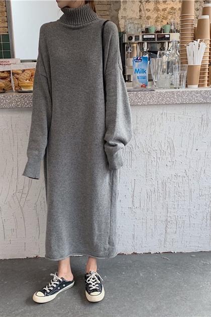 素雅高領極長毛線鉤織洋裝*3色