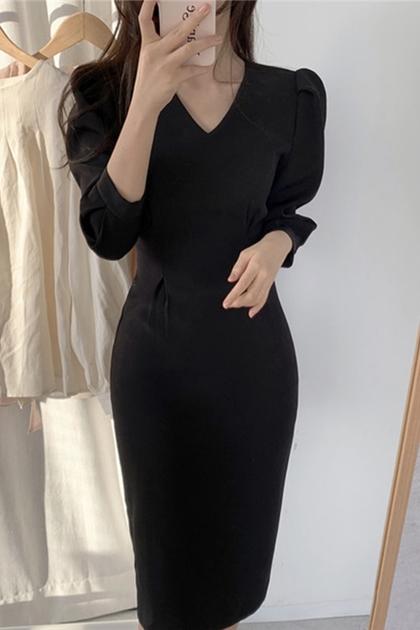 法式氣質v領修身收腰包臀洋裝*2色