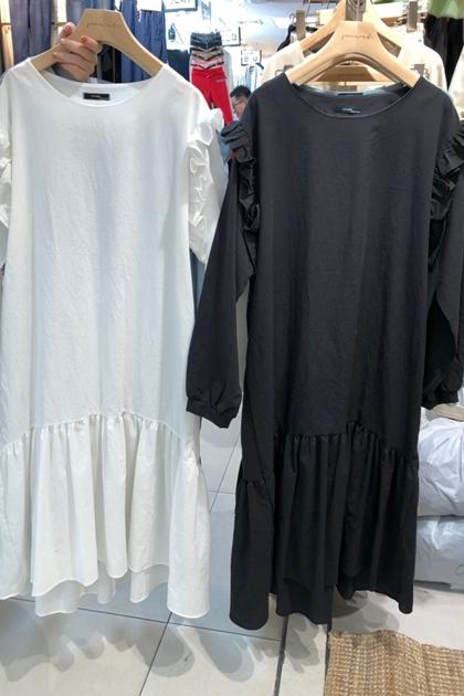 正韓荷葉洋裝*3色